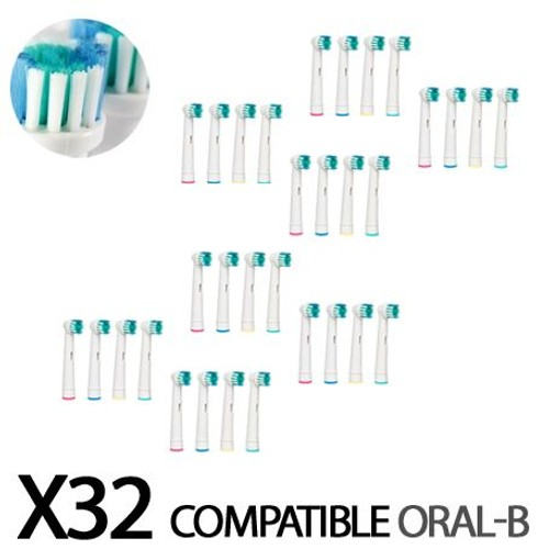 32 recharges brosse dent lectrique brossettes compatible oral b. Black Bedroom Furniture Sets. Home Design Ideas