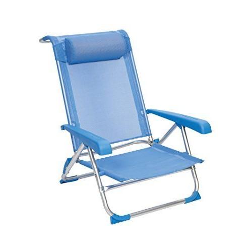 Red Mountain Deluxe Chaise De Plage Pliable Bleu