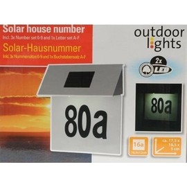 ref 09 plaque solaire pour numero de porte de rue de maison a eclairage solaire lampe inox. Black Bedroom Furniture Sets. Home Design Ideas