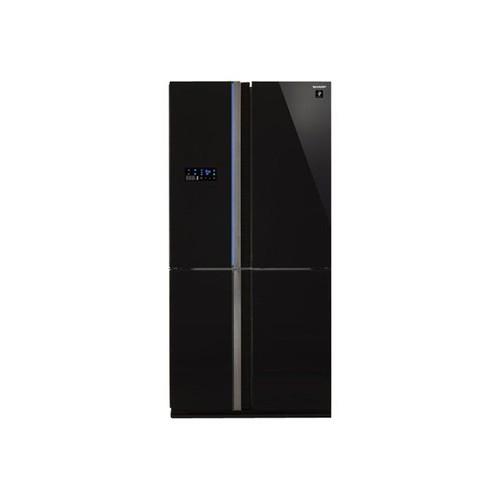 r frig rateur combin sharp sj fs820vbk classe a verre noir. Black Bedroom Furniture Sets. Home Design Ideas