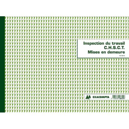 registre de l inspection du travail et chsct exacompta 6615. Black Bedroom Furniture Sets. Home Design Ideas