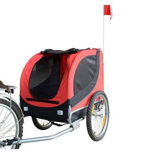 remorque velo pour chien animaux avec 8 reflecteurs drapeau rouge noir 07. Black Bedroom Furniture Sets. Home Design Ideas