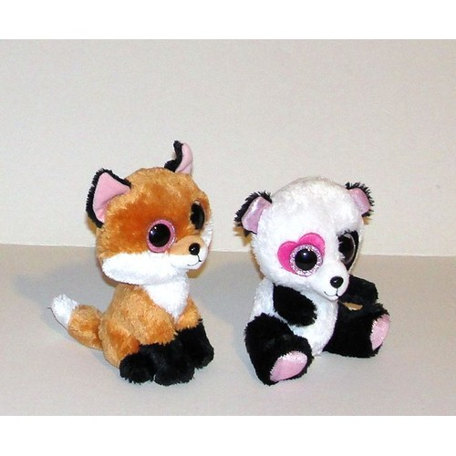 renard et panda aux gros yeux paillet s peluche doudou ty 16cm. Black Bedroom Furniture Sets. Home Design Ideas