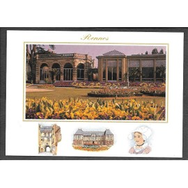 rennes, ille et vilaine, les serres du jardins du thabor, et en bas, 3  petites illustrations