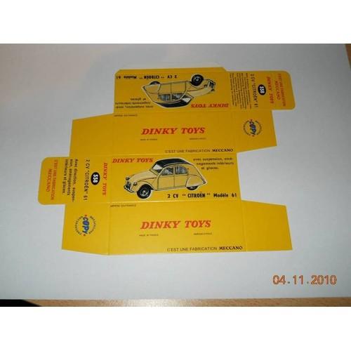 reproduction boite dinky toys ref 558 2cv  u0026quot citroen u0026quot  modele 61