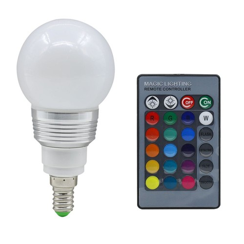 rgb ampoule led changement de lampe 16 couleurs 3w e14 24 cl t l commande. Black Bedroom Furniture Sets. Home Design Ideas