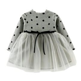 7cdf36e50d52e Robe Bébé Fille Polka Princesse Manche Longue Cadeau Anniversaire Fête Pour  3-36 Mois Blanc
