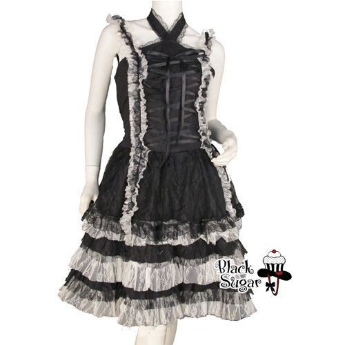 robe black sugar lolita noir lacet devant reglable dentelle blanc japonais manga soir e. Black Bedroom Furniture Sets. Home Design Ideas