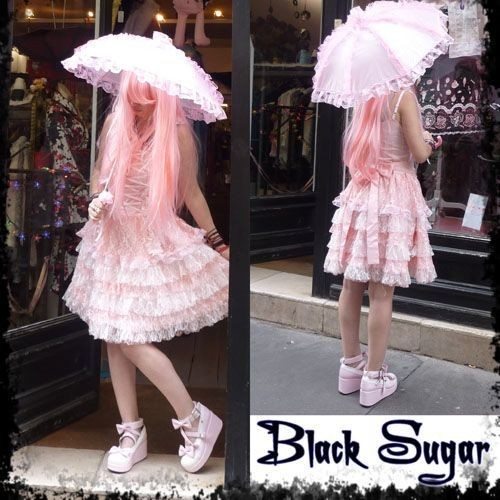 robe black sugar lolita noir lacet devant reglable dentelle rose japonais manga soir e. Black Bedroom Furniture Sets. Home Design Ideas