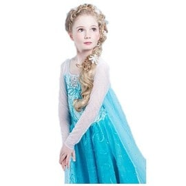tenue d guisement costume robe avec tra ne reine des neiges princesse enfant 3 14 ans f te. Black Bedroom Furniture Sets. Home Design Ideas