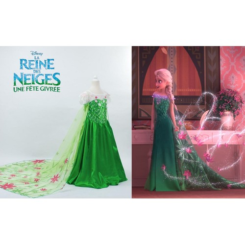 robe d 39 t elsa verte d guisement la reine des neiges 2 une fete givree princesse disney costume. Black Bedroom Furniture Sets. Home Design Ideas