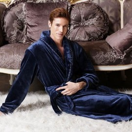 Robe de chambre bleu polaire marine homme epais achat et vente - Achat robe de chambre homme ...