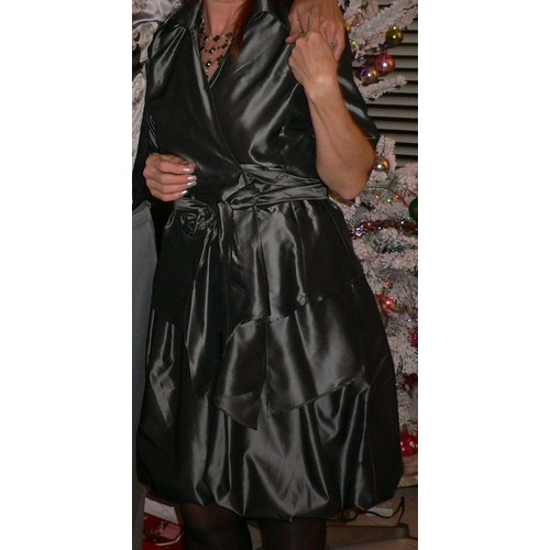 robe de soir e zara satin 40 gris et gilet cache coeur assorti. Black Bedroom Furniture Sets. Home Design Ideas