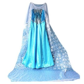 robe elsa adulte la reine des neiges longue tra ne de 2m pour d guisement frozen personnage. Black Bedroom Furniture Sets. Home Design Ideas