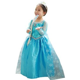 robe elsa avec traine bleu tenue princesse d guisement cosplay la reine des neiges pour. Black Bedroom Furniture Sets. Home Design Ideas