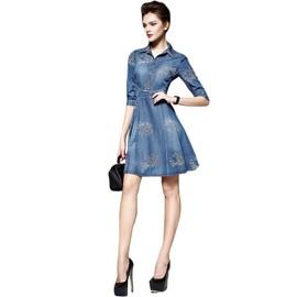4f20f79c2a742 Robe En Denim Femme Acourt Slim Fit Casual Robe Jean Femme Ete
