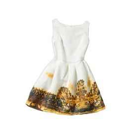 9f709470e14c1 Robe Enfant Fille Motifs Vintage Rétro Paysage Chateau Eglise Élégante Sans  Manches Collection Printemps Été Fête Soirée ...