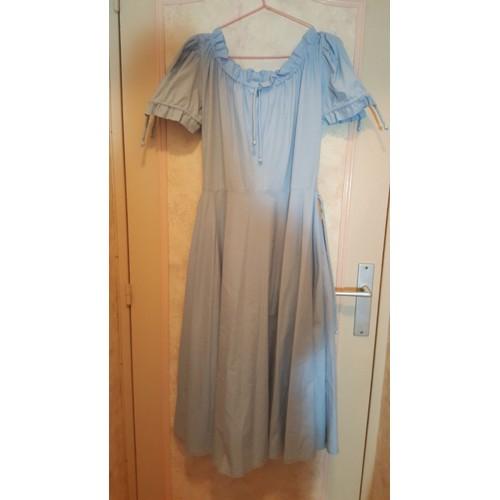 robe inconnu vintage ann es 70 coton 40 bleu achat et vente. Black Bedroom Furniture Sets. Home Design Ideas