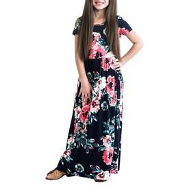 Fleur Manches Ans Fille Courteté Imprimé Enfant 10 Robe Longue 2 KJT1cl3F