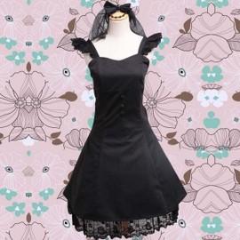 robe noire coton bretelles dentelle boutons collier tour de cou noeud papillon voilette tulle. Black Bedroom Furniture Sets. Home Design Ideas