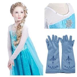 Robe paire de gants bleu reine des neiges anna elsa paillettes bleues princesse tenue cosplay - Robe anna reine des neiges ...