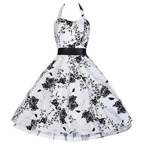 Robe blanche avec fleur noir