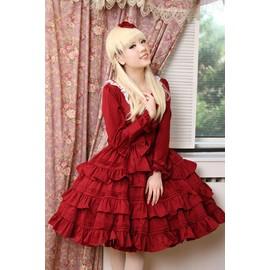 Robe rouge dentelle manche longue