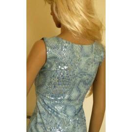 77b3c1242fe Robe ultra féminine Bleu argenté style écailles de poissons Sirène  paillettes Taille 36 MICHEL ADAM Michel Ada