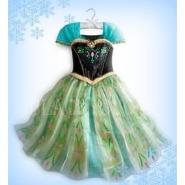 Robe verte princesse anna frozen reine des neiges costume enfant anniversaire spectacle f te - Robe anna reine des neiges ...