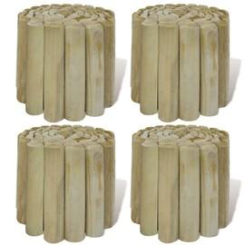 Rouleau bordure en bois pour jardin 4 pcs pas cher - Rakuten
