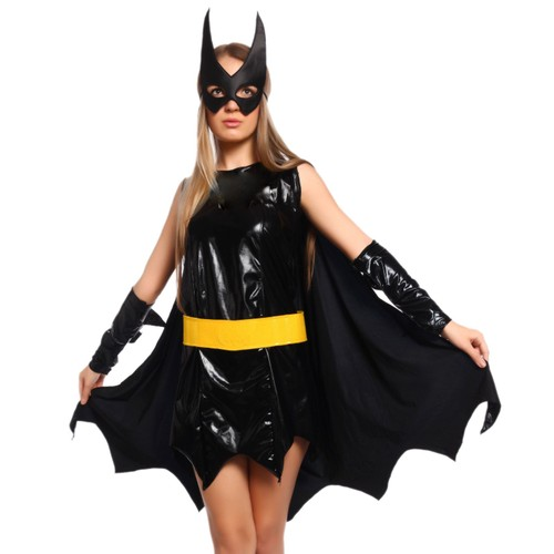 s 30 32 costume halloween deguisement tenue superman bat man bat girl avec cape masque. Black Bedroom Furniture Sets. Home Design Ideas