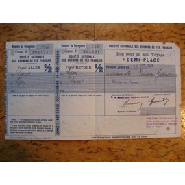 S.N.C.F Bon Pour 1 Voyage � 1/2 Place 1946 -Service De Presse.