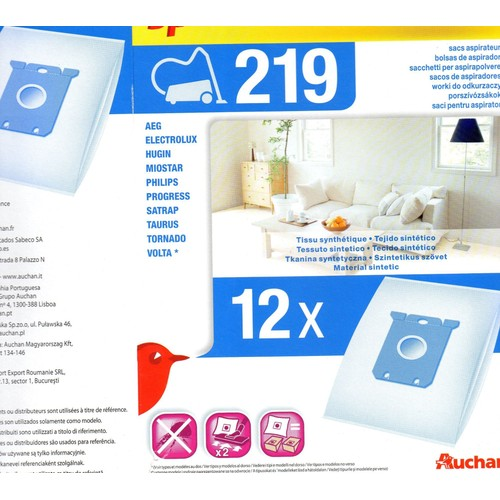 sacs aspirateur auchan n 219 en tissu achat et vente. Black Bedroom Furniture Sets. Home Design Ideas