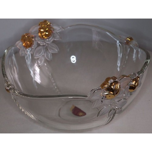 saladier en cristal original walther glass d cor roses et feuillages avec dorures neuf. Black Bedroom Furniture Sets. Home Design Ideas