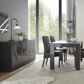 Salle À Manger Gris Laqué Buffet 3 Portes + Table 180 Design Nino 2