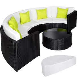 Salon de jardin COLISEUM - 1 Canapé, 1 Table en Résine Tressée et en  Aluminium + 5 Oreillers + 1 Housse de protection Noir TECTAKE