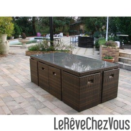 salon de jardin r sine tress e 8 places encastrables avec dossiers couleur chocolat housse de. Black Bedroom Furniture Sets. Home Design Ideas