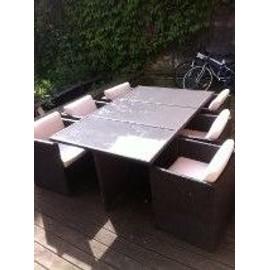 Salon De Jardin Teck Et Rotin Tresse Vernis / Vernis (Table+ 6 ...