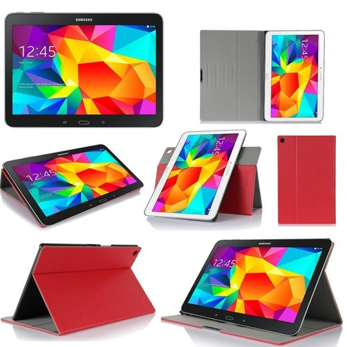 samsung galaxy tab 4 10 1 etui rouge protection ultimkaz cuir style wifi 3g lte 4g housse. Black Bedroom Furniture Sets. Home Design Ideas