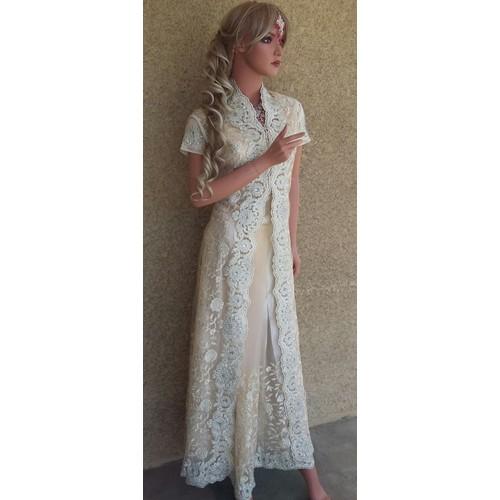 Sari indien couture crystal veste longue incrustee de for Longues robes de veste pour les mariages