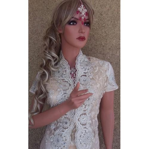 SARI INDIEN COUTURE CRYSTAL + veste longue incrustee de pierres taille M  Blanc cassė  bollywood takchita caftan robe kabyle  mariage oriental Sari  Indien ... 7754d362253