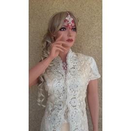Sari Indien Couture Crystal + Veste Longue Incrustee De Pierres ... 6d7e6dbca24