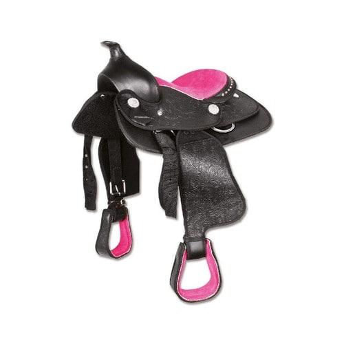 selle western think pink poney 12 7 10ans noir rose. Black Bedroom Furniture Sets. Home Design Ideas