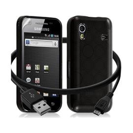 Seluxion -Housse �tui Coque Gel Cercle + C�ble Data Usb Samsung Galaxy Ace S5830 Couleur Noir