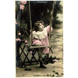 srie de 5 cartes postales anciennes petite fille fait de la balanoire thme rcration
