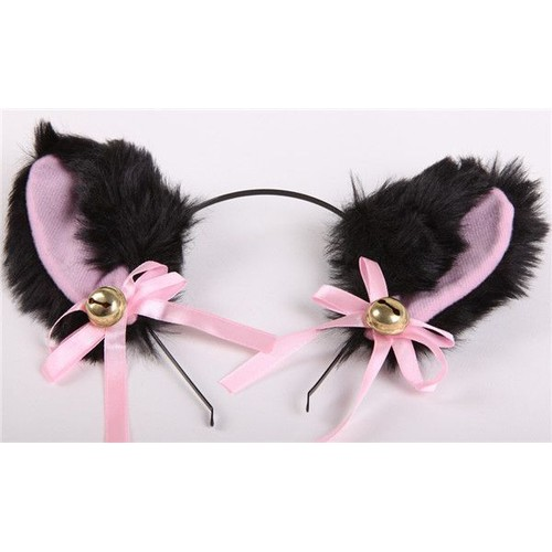 serre t te pince barrette oreille chat renard animaux clochettes noeuds rose cosplay neko. Black Bedroom Furniture Sets. Home Design Ideas