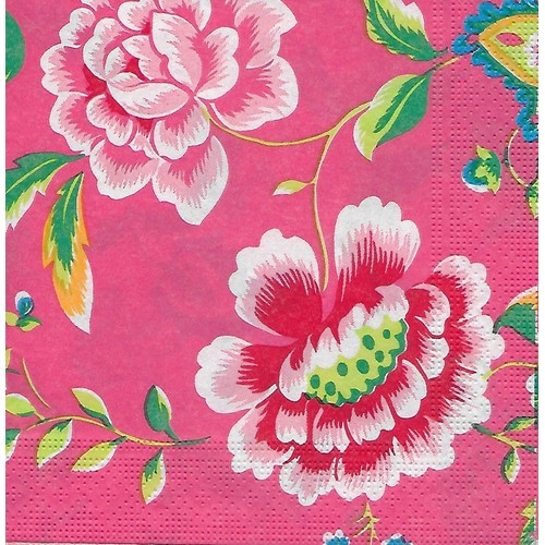 Serviette En Papier Motif Chinois Fleur De Pivoine Tons Roses Pour