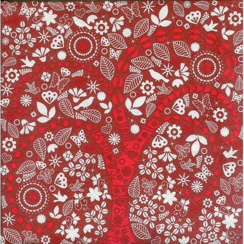 Serviette en papier motifs rouge et blanc fleurs feuilles - Serviette en papier motif ...