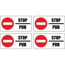 set 4x autocollant sticker boite aux a lettre pas de pub stop interdit anti. Black Bedroom Furniture Sets. Home Design Ideas