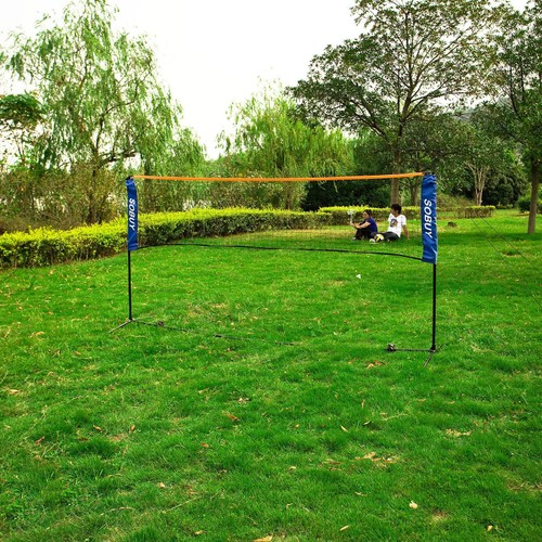 sobuy sfn03 l500cm filet de badminton pieds r glable en hauteur filet de volley ball tennis. Black Bedroom Furniture Sets. Home Design Ideas
